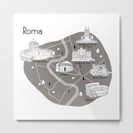 Mapping Roma - Grey Metal Print