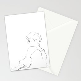 graphic sketch of a woman Stationery Cards