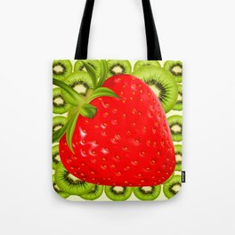 GREEN KIWI & RED STRAWBERRY ART Tote Bag