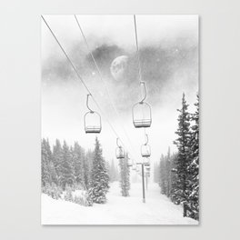 Chairlift Moon Break // Riding the Mountain at Copper Colorado Luna Sky Peeking Foggy Clouds Canvas Print