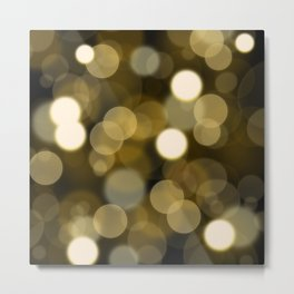 Abstract black gold color modern unfocused lights Metal Print