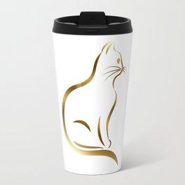 Gold Kitty Cat Silhouette Travel Mug