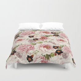 Small Vintage Peony and Ipomea Pattern - Smelling Dreams Duvet Cover