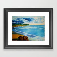 Cloudy Beach Framed Art Print