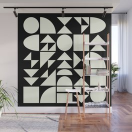 Mid Century Style Shapes in Black and White Wall Mural