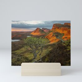 Sunrise in the Quiraing mountain landscape Mini Art Print
