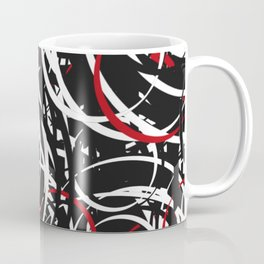 Black Red and White Bold Circle Design Abstract Coffee Mug