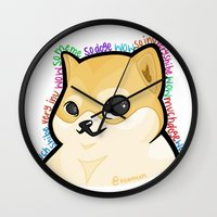 doge Wall Clocks featuring WOW MUCH DOGE by ocamixn