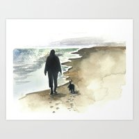 Walking on the Beach Black Dog Art Print