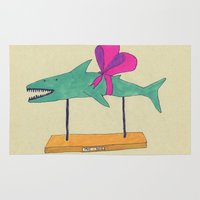 shark Area & Throw Rugs featuring shark by Maybe Mary
