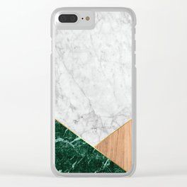 White Marble Green Granite & Wood #138 Clear iPhone Case