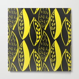 yellow Scandinavian style ink brush foliage on a black background Metal Print