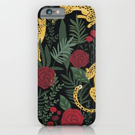 Roses In The Garden With Sensual Leopards Dark Background iPhone Case