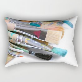 Painter's Palette With Paintbrushes  Rectangular Pillow