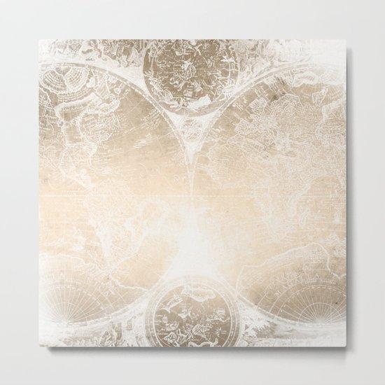 Antique World Map White Gold Metal Print