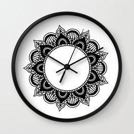 Mandala: black and white Wall Clock