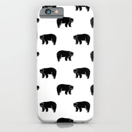 Linocut minimal black and white bear forest camping pattern nature art iPhone Case