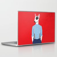 bull terrier Laptop & iPad Skins featuring Skinhead Bull Terrier by drawgood