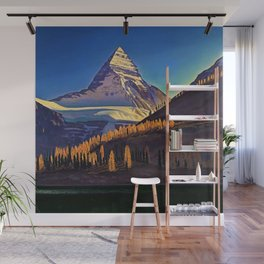 Rocky Mountains with Fir and Aspen Trees landscape painting by Rockwell Kent Wall Mural
