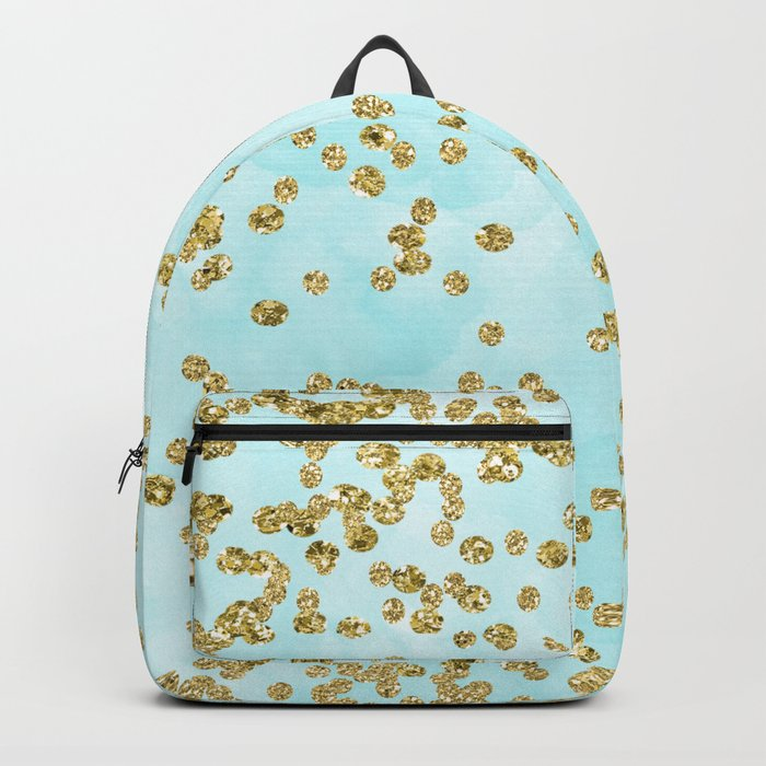 Sparkling gold glitter confetti on aqua ocean blue watercolor background-Luxury pattern on #Society6 Backpack