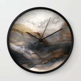 Iron Mountain - abstract landscape, watercolor, alcohol ink, brown gray neutrals Wall Clock