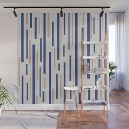 Interrupted Lines Mid-Century Modern Minimalist Pattern in Blue, Purple, and Taupe Wall Mural