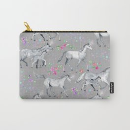 Unicorns and Stars on Soft Grey Carry-All Pouch