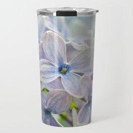 Macro shot of beautiful lilac flower on blurred background. Shallow depth of field. Travel Mug