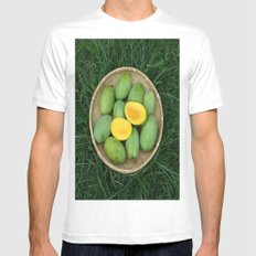 MANGOES GALORE White Mens Fitted Tee MEDIUM