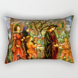 The Enchanted Garden of Messer Ansaldo - Marie Spartali Stillman Rectangular Pillow