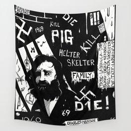 Serial Killer 3: Manson (b&w) Wall Tapestry