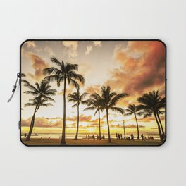 Typical Picturesque Waikiki Beach Sunset Laptop Sleeve