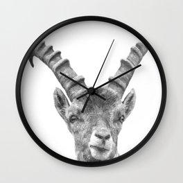 Black and white capricorn animal portrait Wall Clock