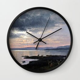 Twighlight over a lake - Hermann Ottomar Herzog Wall Clock