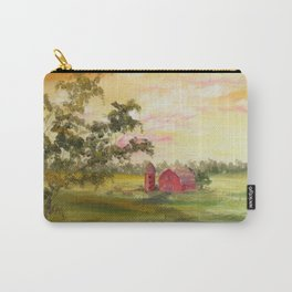 Red Barn, Farm Painting, by Faye Carry-All Pouch