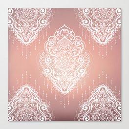 Rose Gold Bohemian Mandala Fall Sunrise Canvas Print