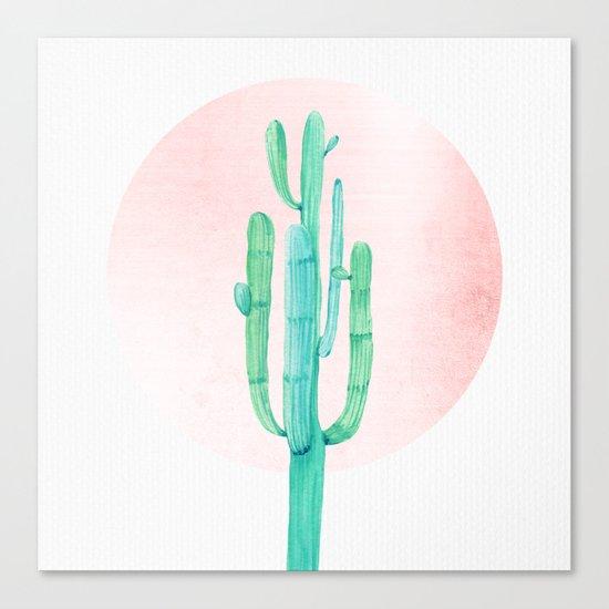 Desert Cactus Green with Rose Gold Sun Canvas Print
