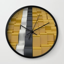 Black, white and yellow sine waves Wall Clock