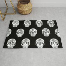 Día de Muertos Calavera • Mexican Sugar Skull – White on Black Palette Rug