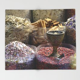 Spice souk Dubai Throw Blanket