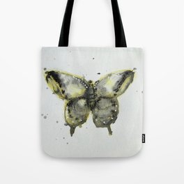 Yellow and Gray Butterfly Tote Bag