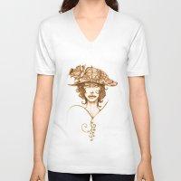 black widow V-neck T-shirts featuring Black Widow by Michele Giorgi