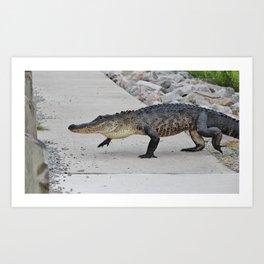 Crossing The Sidewalk Art Print