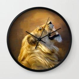 Roaring lion portrait Wall Clock