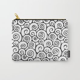 Modern Black and White Abstract Swirly Pattern Carry-All Pouch