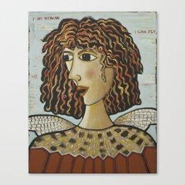 I Am Woman, I Can Fly-American Kestrel Bird Canvas Print