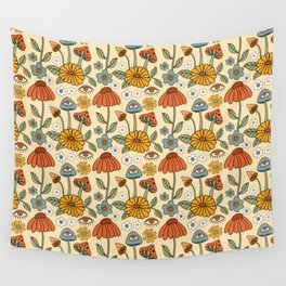70s Psychedelic Mushrooms & Florals Wall Tapestry