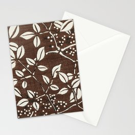 Brown Leaf Pattern Stationery Cards