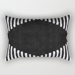 Diamond Stripe Geometric Block Print in Black and White Rectangular Pillow