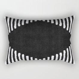 Diamond Stripe Geometric Block Print in Black and White Rectangular Pillow